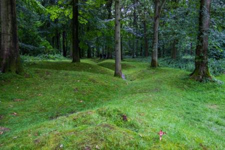 Reste der Schützengräben im Wald