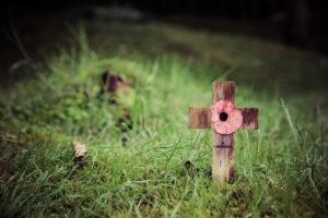 Ein Erinnerungkreuz in Delville Wood